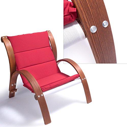 Lounge Gartenmöbel Set Malibu | Relaxsessel & 2er Sofa mit Armlehne, hoher Rückenlehne aus Holz | Gartenstuhl & Gartenbank mit Sitzauflagen rot - 7