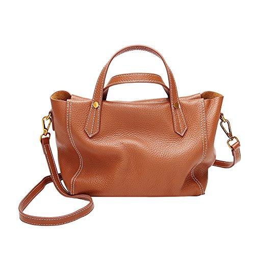Mena Uk Borse grandi della borsa di cuoio molle di stile di modo delle donne e della signora Marrone