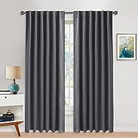 Cortinas Gris Habitacion Fruncidas - PONY DANCE Curtain Blackout para Sala Dormitorio Oficina, 132 x 210 cm (An x Al), 2 Paneles