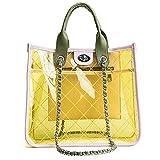 KLCKOWD PVC Kette Handtaschen Einzelner Schulter Ketten Taschen Sommer Kunststoff Strandtaschen Jelly Bags Yellow