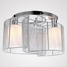 AintMossiR Modern Unterputzmontage Wohnzimmer Deckenleuchte KronleuchterWeissen Fabric Lampenschirm Innere Weissen Mattiertes Glas 2 X E27