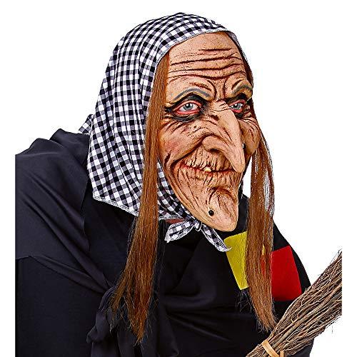 WIDMANN 03292 Hexenmaske mit Haaren und Kopftuch, Damen, Mehrfarbig
