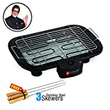 Cello Ultra CLO BBQ ULTRA3SKWR 2000-Watt Barbeque with 3 Skewers (Black/Silver)