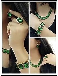 Apsara Art Jewellery Gold Plated Stylish Green Stones Studded Necklace Set,Bracelet,Finger Ring Combo Set For...