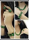 #9: Apsara Art Jewellery Gold Plated Green Stones Studded Necklace Set,Bracelet,Finger Ring Combo Set For Women & Girls