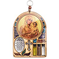 """13 x 18 cm, colore: bianco-Targa in legno, motivo: icona Maria Christ crocifisso Home Blessing """", con pietre semipreziose, idea regalo, da appendere a parete"""