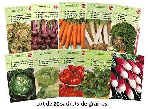 Lot 20 paquets graines légumes potager jardin ouvrier, salade, radis, tomate, carotte, poireau, pas cher, économique