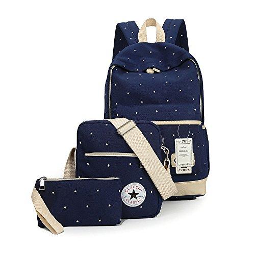 ZUNIYAMAMA 3 Set leichte Mini Leinwand Rucksack + Schultertaschen + Geldbörse für Teen Mädchen Laptop Schule Tasche tiefes Blau