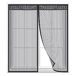 Anpro Magnet Fliegengitter Fenster, Insektenschutz Fenstervorhang 100x 140 cm, Klebmontage ohne Bohren, Schwarz