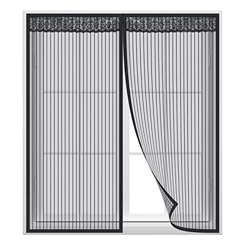 Anpro Magnet Fliegengitter Fenster, Insektenschutz Fenstervorhang 80 x 100 cm, Klebmontage ohne Bohren, Schwarz