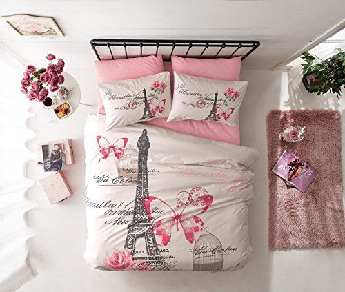 HP Paris Home 100% Baumwolle 5X Paris Pink Creme voller Größe Tröster Set Eiffelturm Schmetterling Thema Betten Bettwäsche (Tröster Eiffelturm)