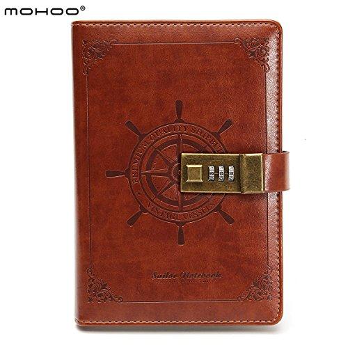 MOHOO Tagebuch Vintage-PU-Leder-Tagebuch Password Notebook, Password Diary Book Notizblock mit Zahlenschloss 112 seiten Vintage Notebook braun Notenbücher-blöcke