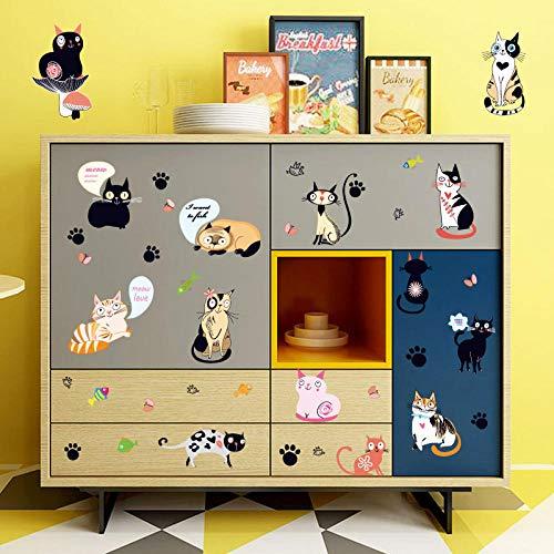 ive Wandaufkleber Niedlichen Cartoon Katze Dress Up Schrank Nachttisch Diy Computer Kinderzimmer 50X70 cm ()