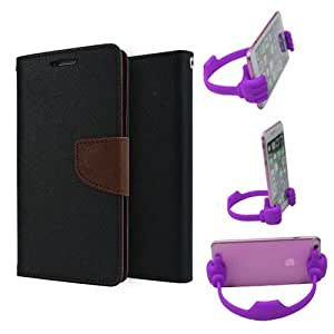 Aart Fancy Diary Card Wallet Flip Case Back Cover For Nokia 720 - (Blackbrown) + Flexible Portable Mount Cradle Thumb Ok Stand Holder By Aart store