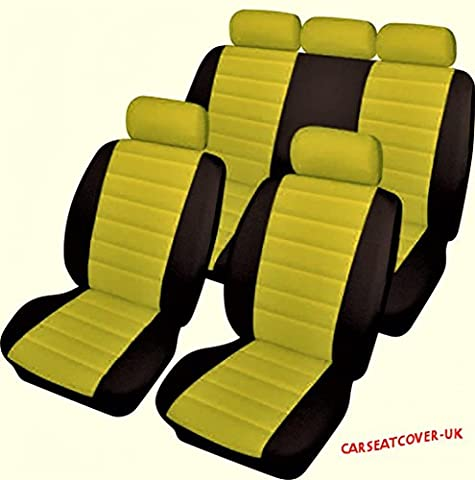 Universal Fit Yellow & Black Leather Look Car Seat Covers Protectors - Full Set
