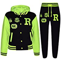 A2Z 4 Kids® Unisex Kids Girls Boys Hooded Baseball - B.B Tracksuit Black & Neon Green 5-6