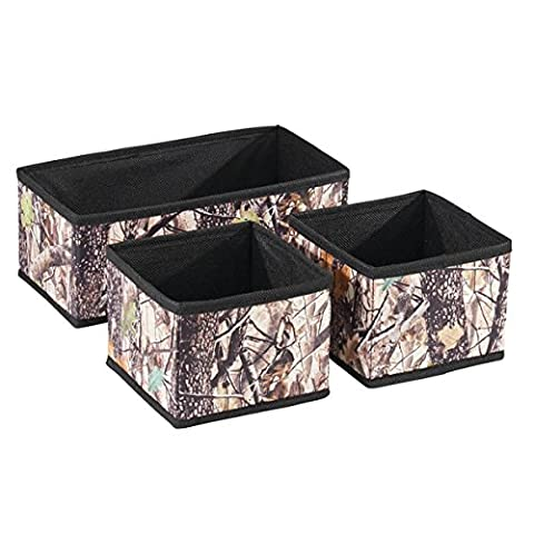 InterDesign Woodland Camouflage Fabric Drawer Storage Organizers – Set of 3, Forest/Black