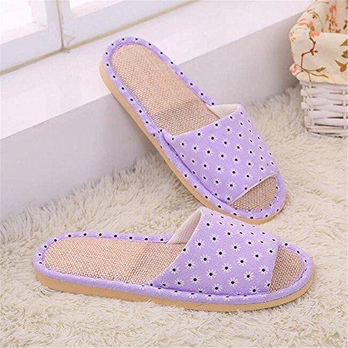 in pantofole panno di scivoloso freddo e destate autunno Pavimento purple Pattini estate primavera Pantofole interne lino lino di qSnrUES