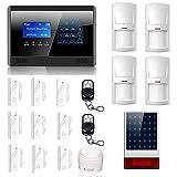 ATD® M2BX Funk GSM Home Security Alarm-System mit 9 Tür-Fenster-Sensoren,4 Bewegungsmelder, 2 Fernbedienungen, verkabelte laute Innensirene und Solar-Außensirene(schwarz)