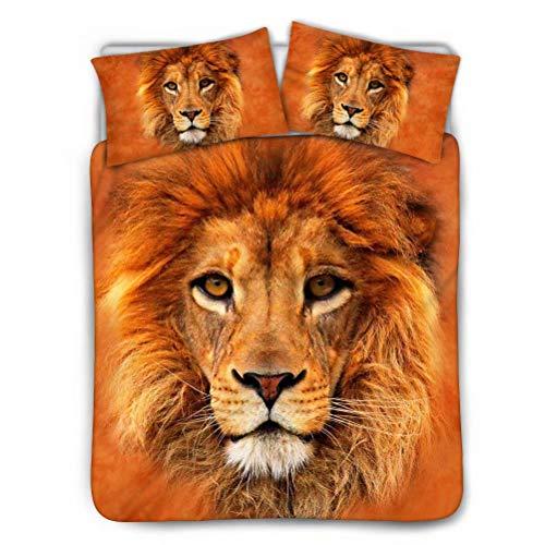 chaqlin 3D Animal Lion Bettbezug-Set Animal Print-Bettbezug-Set, darunter 1 weicher hypoallergener Bezug und 2 Rechteck-Shams-Kissen, King-Size-Schwarz, Innenfutter-Reißverschluss - Lion Bettbezug