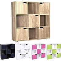 Cube Shelving Unit - Wood Bookcase with Doors - Boys & Girls Bedroom Furniture - ASAB - 9 Cubes MDF & DVD, books, CD-Shelf Storage Unit - 4/5 Door opened standing Storage Cube - Oak