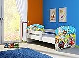 Clamaro 'Fantasia Weiß' 180 x 80 Kinderbett Set inkl. Matratze und Lattenrost, mit verstellbarem Rausfallschutz und Kantenschutzleisten, Design: 37 Feuerwehr