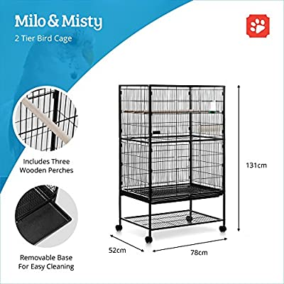 MILO & MISTY 2 Tier Large Metal Aviary Bird Cage for Cockatiels, Parrots, Parakeets - Black by Milo & Misty