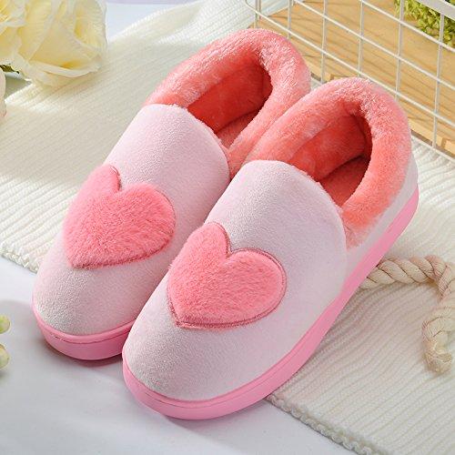 DogHaccd pantofole,La sig.ra Cotone dinverno pacchetto pantofole per rimanere nella spessa coperta di lana coppie Cartoon carino maschile di vello di peluche Rosa3