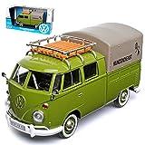 alles-meine.de GmbH Volkwagen T1 Grün Pick-Up und Plane mit Dachträger Volkwagen Kundendienst Samba Bully Bus 1950-1967 1/24 Motormax Modell Auto mit individiuellem Wunschkennzeichen