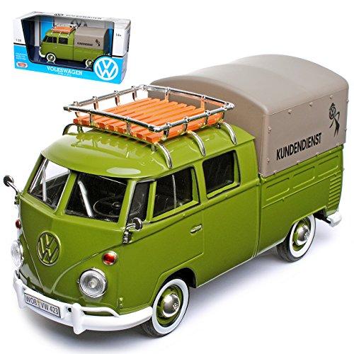 VW Volkswagen T1 Grün Pick-up und Plane mit Dachträger VW Kundendienst Samba Bully Bus 1950-1967 1/24 Motormax Modell Auto