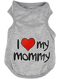 """SAMGU """"I Love Mommy""""T-shirt sans Manches en Coton pour Animaux Pet cat Chiens"""