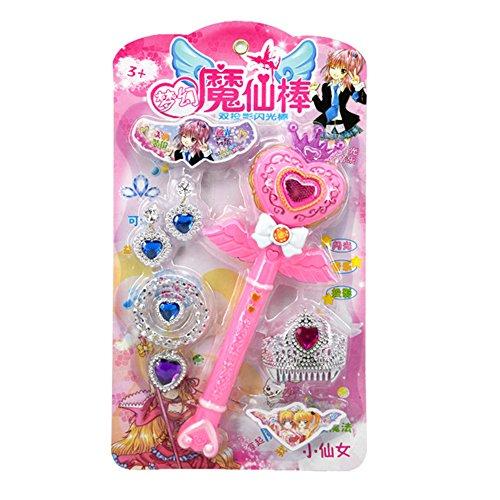 Etbotu Mode Kinder Fee Prinzessin Leuchten Musik Spielen Zauberstab Spielzeug Set (5 Stück) (Leuchten Zauberstab Prinzessin)