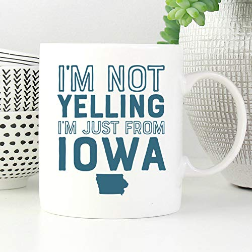 Lustige Iowa-Tasse mit Iowa-Kaffeetasse, Iowa-Geschenke, Heimatland-Tasse mit Aufschrift