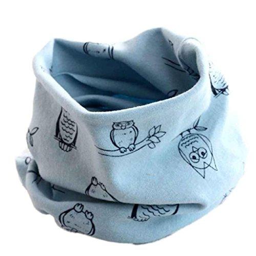 Babybekleidung Schals Longra Herbst-Winter-Baby-Mädchen-Eulen Kragenbaby -Schal Baumwolle O-Ring Halstücher (40 * 40cm) (Light Blue)