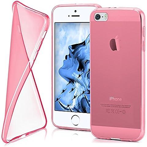 Cover di protezione iPhone 5 / 5S / SE Custodia Case silicone sottile 0,7mm TPU | Accessori Cover cellulare protezione | Custodia cellulare Paraurti Cover Traslucida Trasparente BERRY-FUCHSIA