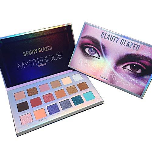 Beauty Glazed Eyeshadow Palette 18 Shades Pigmented Matte und Shimmer Lidschatten-Make-up-Palette Pop Farben Lila Grün und Blau Glitter Pearls Langlebig Schweißfest Wasserdicht