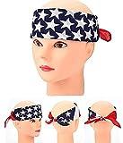 3 Stück American Flag Stars Stripes Turban Twisted Head Wrap Hair Band Biker Stretch Fashion Workout Friseur Zubehör Kerchief Halstuch Cowboy Bandanas Square Schal für Unisex Herren und Frauen