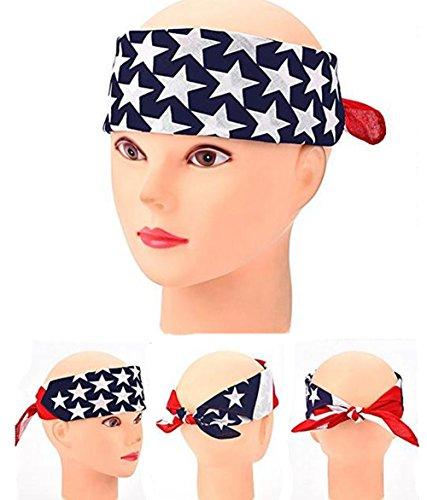 3 UNIDS Bandera Americana Turbante Cabeza Torcida Wrap Banda de Pelo Biker Estiramiento Entrenamiento Accesorios de Peluquería Pañuelo Vaquero Pañuelos Bufanda Cuadrada