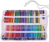 Amoyie - Pieghevole organizzatore borsa per 120 matite colorate, tela astuccio arrotolabile per studenti e artisti (con coulisse borse per gomme coltello, Non comprese le matite)