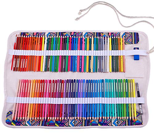 Amoyie Faltbare Stifterolle für 120 Buntstifte, Leinwand Wrap Roll-up Mäppchen mit kleinen Kordelzugbeutel für Messer Radiergummi (keine Schreibzeuge im Lieferumfang)
