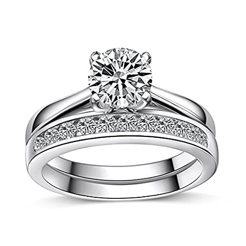 Platinum-Look 925 Sterling Silver 1.75ct Simulated Diamond Engagement/Wedding Ring Set 2PC (White gold finish) (K)