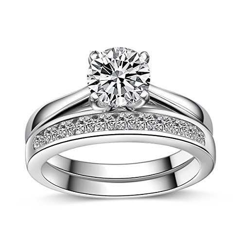 Sreema London 925 Sterling Silver 1.75ct Cubic Zirconia Engagement/Wedding Ring Set 2pc Solitaire Eternity Band with Box