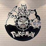 Pokemon Horloges MuralesÉclairage Vinyle Horloge Murale Design Moderne Bande Dessinée Classique CD Montre 3D Décoratif Suspendu Décor À La Maison Silencieux
