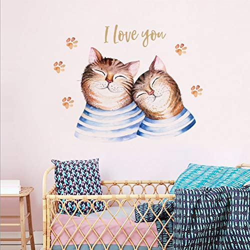 YCEOT Wandaufkleber Liebe Katze Paare Wandaufkleber Schlafzimmer Hochzeit Wohnzimmer Wanddekoration Kunst Abziehbilder Abnehmbare Umweltfreundliche Kunstwand