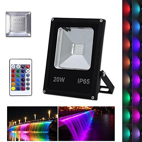 VINGO® LED 20W RGB Fluter Flutlicht Baustrahler Objektbeleuchtung Strahler IP65 Fembedienung Scheinwerfer