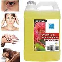 Huile de Ricin 100% Naturelle -1000 ml - L'Huile de Beauté de Cleopatre - Cils Cheveux Ongles Anti Cernes Demaquillant Yeux & Visage Hydratant Corps - Made in France