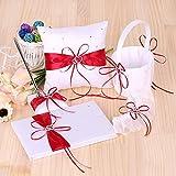 Decdeal 5pcs/Set Supplies Double Heart Satin Flower Girl Basket + 7 * 7 inches Ring Bearer Pillow + Guest Book + Pen Holder + Bride Garter Set Red