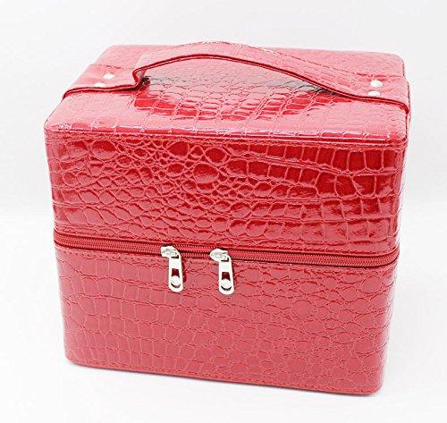 LDMB Damen-handtaschen Multilayer-Square kosmetische Paket Einbeziehung Kosmetiketui stone grain wine red