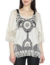 Damen Häkel Top Shirt Tunika Bluse Netz Spitze Baumwolle Rosa Gelb 38 40 42 M L
