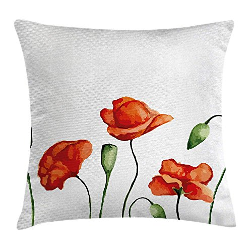 Yinorz Flower Decor Throw Pillow Cushion Cover, Floral Theme Watercolor Style Effect Poppies Blossom Illustration, Decorative Square Accent Pillow Case, 18 X 18 inches, Fern Green and Scarlet